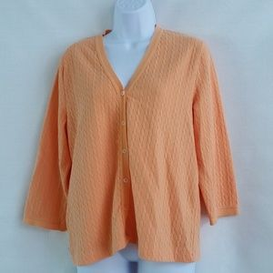 Ralph Lauren Orange Cardigan Sweater Size L